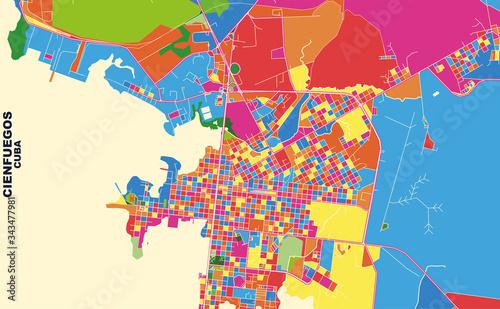 Cienfuegos, Cienfuegos, Cuba, colorful vector map Wallpaper Mural