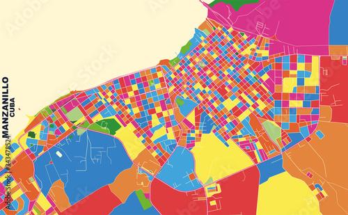 Manzanillo, Granma, Cuba, colorful vector map Wallpaper Mural