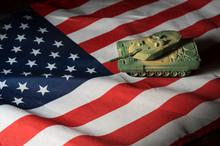 Toy Tank On USA National Flag.