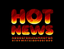 Vector Flaming Banner Hot News...