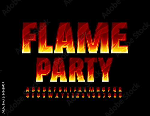 Vector bright flyer Flame Party with creative Fire Font Canvas Print