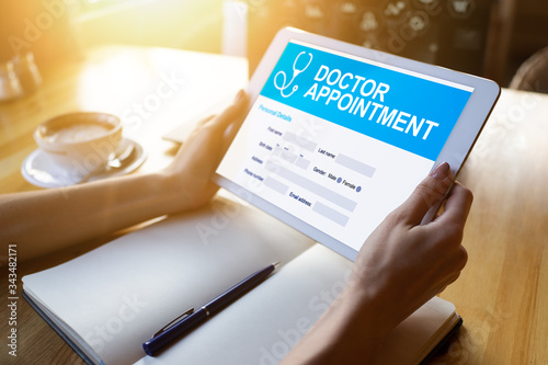 Doctor appointment online on screen Canvas Print