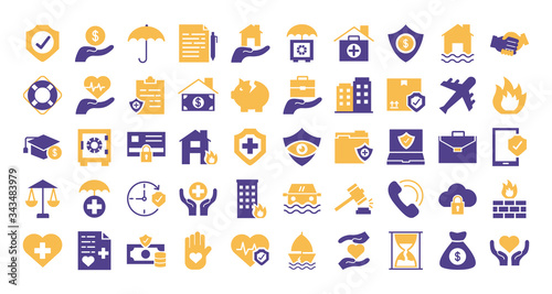 Photo bundle of insurance set icons