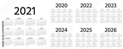 Obraz Calendar 2021, 2022, 2023, 2024, 2025, 2026, 2020 years. Vector illustration. Simple template. - fototapety do salonu