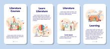 Literature School Subject Mobile Application Banner Set.