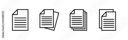 Document icons set. Paper icon. File Icon Fototapete