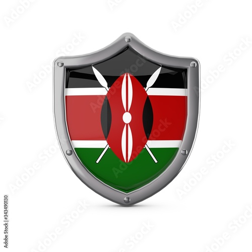 Kenya security concept. Metal shield shape with national flag Wall mural