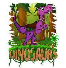 Logo Cartoon Little Dinosaur Looks Up. Vector Illustration.