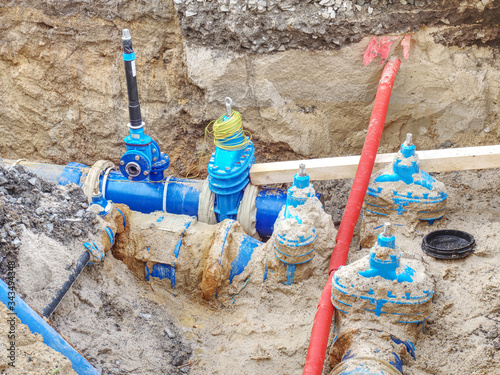 Fotografie, Tablou Plastic tubes for drink water. Reneval potable water system