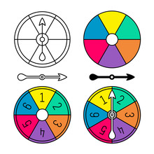Board Game Color Spinner With Numbers Set. Different Style Arrows And Round Body Separate. Color Sectors Circle. Adjustable Stroke Width.