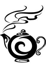 Stylized Tea Pot In Black On A...