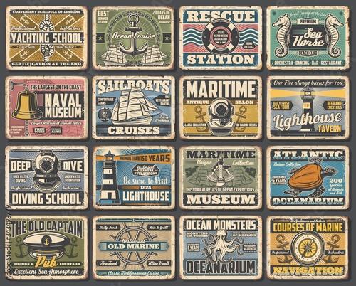 Fotografia Nautical seafaring and marine vintage retro vector posters