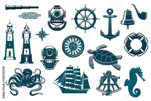 Vászonkép Marine icons, nautical seafaring and sailing vector vintage symbols