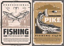 Fishing Club And Fisher Big Fish Catch Tournament, Vector Retro Vintage Posters. Lake Pike And Perch Fishing, Lures And Tackles, Rod Hooks And Floater