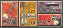 Folk And Jazz Live Music Fest, Classical Piano Concert, Vector Retro Vintage Posters. Folk Musical Instruments Exhibition Museum Of Japanese And National Asian Music Instruments Shamisen Or Pipa