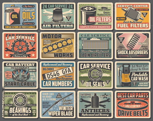 Photo Cars auto service, mechanic garage station and spare parts shop, vector vintage posters