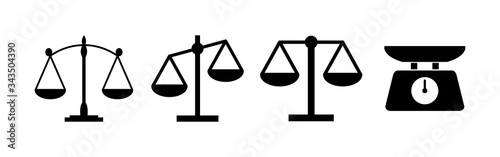 Stampa su Tela Scales icons set. Law scale icon. Scales vector icon. Justice