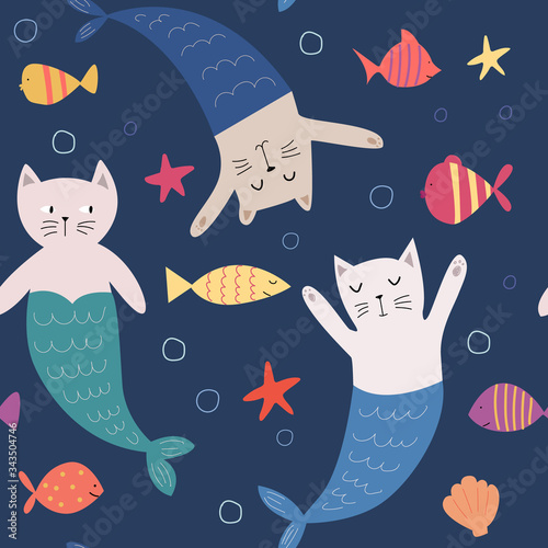 Seamless pattern with cartoon cat mermaid and sea creatures. Cute hand-drawn children's illustration.Colorful vector flat style for kids. Children's design for fabric, print, wrapper, textile