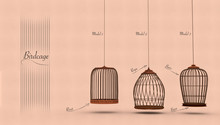 Set Of Bird Cages With Texts T...
