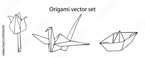 Obraz na plátně A set of origami vectors isolated on a white background: a crane, a tulip, a ship