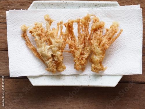 Flammulina velutipes ,Enokitake mushroom fried on tissue paper absorb oil Canvas Print
