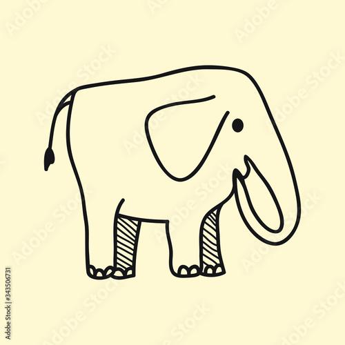 vector animal line icon for web, tatto, logo elephant Wallpaper Mural
