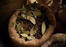 Dried Bay Leaves For Sale In The Spice Market, Delhi, India