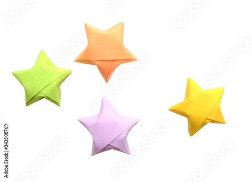 Fotografie, Obraz Colorful origami lucky stars