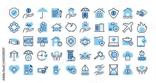 Fototapeta bundle of insurance set icons obraz