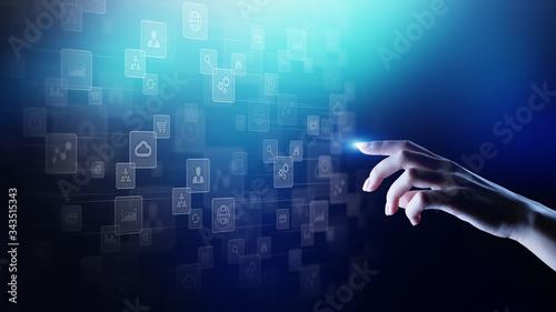 Fototapeta Applications icons on virtual screen, technology, development background concept