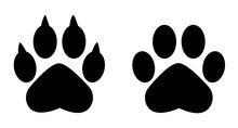 Different Animal Paw . Paw Prints. Black Paw .Paw Icon Vector Illustration Isolated On White Background. Dog, Cat, Bear, Wolf . Legs. Foot Prints.