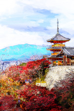 Water Color Digital Painting Of Beautiful Momiji Autumn Colorful Maple Background At Kiyomizu-Dera Temple And Kyoto, Japan,  - Illustration