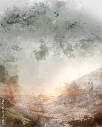 Valokuvatapetti Digital watercolor painting of Stunning Autumn Fall landscape image of rain in v