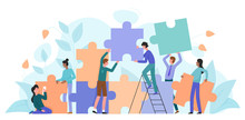 Teamwork, Startup Character Flat Vector Illustration Business Concept With Giant Puzzle. Teamwork Partnership Metaphor. Team Building Training, Project Management, Group Motivation, Brainstorming