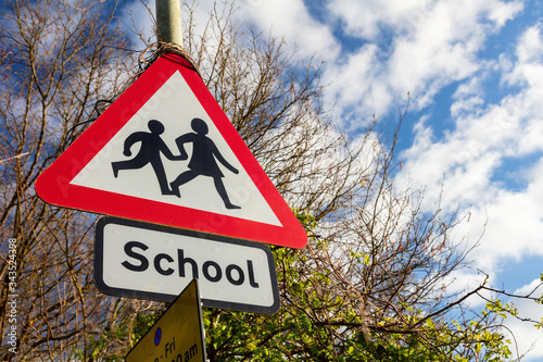 School Warning Road Traffic Sign
