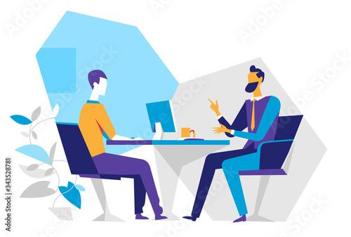 Obraz na plátně Venditore e cliente in ufficio