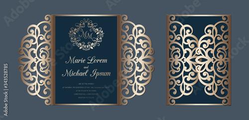 Canvas Print Laser cut wedding invitation gate fold card template vector