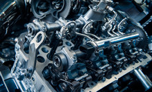 The Powerful Engine Of A Car. Internal Design Of Engine. Car Engine Part. Modern Powerful Car Engine.