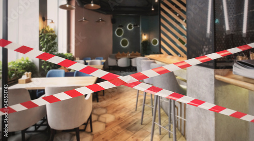 Hazard safety stripes across empty closed restaurant Fototapet