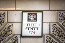 London - Fleet Street, Street Sign- A Major London Street Connecting The City Of London With The West End