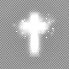 Shining White Cross And Sunlight Special Lens Flare Light Effect On Transparent Background. Glowing Saint Cross. Vector Illustration