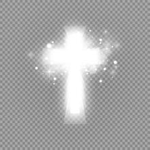 Shining White Cross And Sunlig...