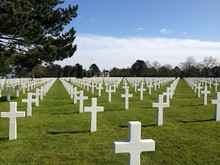 Crosses At Normandy American Cemetery And Memorial Against Sky
