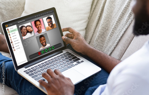 Obraz Lockdown communication. African American man having video conference with his family at home, collage - fototapety do salonu