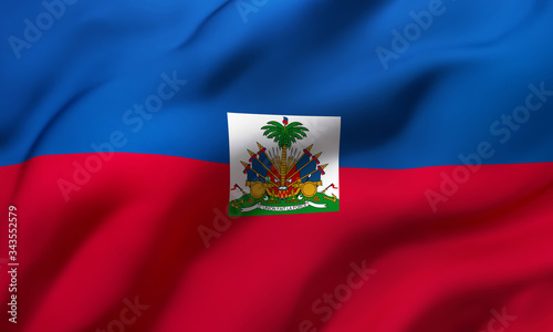 Photo Flag of Haiti blowing in the wind. Full page Haitian flying flag.