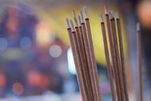 Burning Incense Sticks At A Temple In Tainan, Taiwan