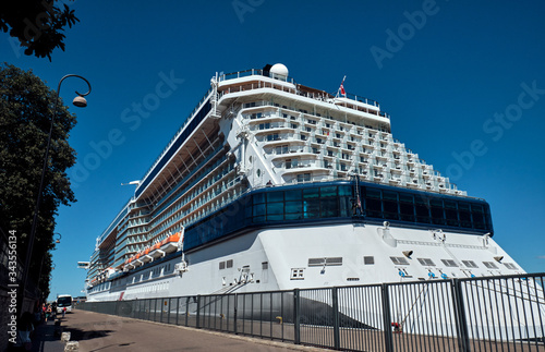 Large white cruise ship in Copenhagen. Canvas Print