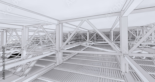 Cuadros en Lienzo Visualization of bim models of metal supporting structures in drawing style