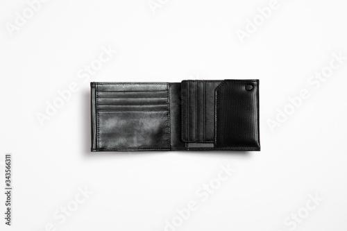 Fototapeta Man genuine leather Wallet isolated on white background. High-resolution photo. obraz na płótnie