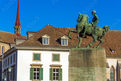 The equestrian monument to Hans Waldmann (1937), Zurich, Switzerland Canvas-taulu